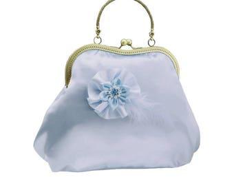 blue clutch bridal clutch bridal bag blue bag Bridesmaid handbag wedding clutch satin flower bride wedding women's blue 2010