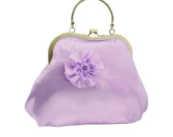 purple clutch bridal clutch bridal bag purple bag Bridesmaid handbag wedding clutch satin flower bride wedding women's purple 2010