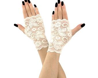 lace gloves ivory gloves bridal gloves wedding gloves fingerless gloves mittens ivory mittens short mittens gloves fabric lace ivory 2185