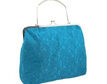 turquoise clutch bridal clutch bridal bag turquoise bag Bridesmaid handbag evening bag handbag satin lace wedding turquoise 2065