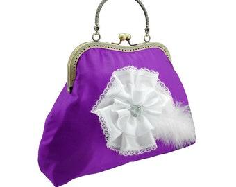 purple clutch bridal clutch bridal bag purple bag Bridesmaid handbag clutch satin flower bride wedding women's white purple 1775