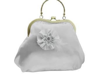 bridal clutch bridal purse bridal bag gray bag Bridesmaid handbag wedding clutch satin flower bride wedding women's gray 2010