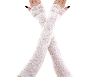 lace gloves white bridal gloves women gloves fingerless gloves long gloves white gloves wedding gloves arm warmers fabric lace white 3385