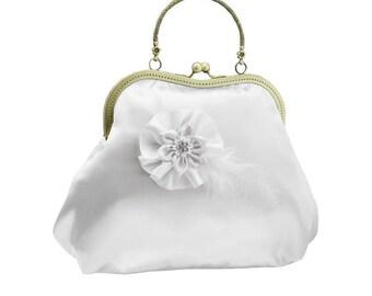 white clutch bridal clutch bridal purse bridal bag Bridesmaid handbag white bag handbag clutch satin flower bride wedding women's white 2010