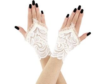 lace gloves ivory gloves bridal gloves wedding gloves fingerless gloves ivory gloves short fingerless gloves fabric gloves lace ivory 4715