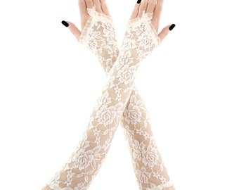 lace gloves ivory bridal gloves women gloves fingerless gloves long gloves ivory gloves wedding gloves arm warmers fabric lace ivory 3385
