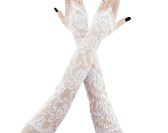 lace gloves white bridal gloves women gloves fingerless gloves long gloves white gloves wedding gloves arm warmers fabric lace white 4545