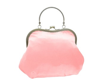 women handbag pink clutch bridal clutch bridal bag Bridesmaid handbag Vintage style evening bag handbag satin bride wedding pink 1830