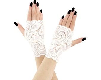 lace gloves ivory bridal gloves wedding gloves fingerless gloves women gloves ivory mittens short mittens gloves fabric lace ivory 2300