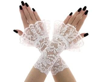 bridal gloves lace gloves wedding gloves fingerless gloves short gloves women gloves white gloves formal gloves fabric lace white 2690