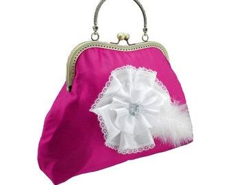 women handbag pink clutch bridal clutch bridal bag pink bag Bridesmaid handbag clutch satin flower bride wedding women's white pink 1775