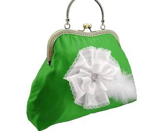 green clutch bridal clutch bridal bag green bag Bridesmaid handbag clutch satin flower bride wedding women's white green 1775