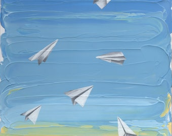Paper Planes on a Textured Sky - Original Acrylic Painting