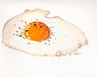 Fried Egg Original Watercolor Painting