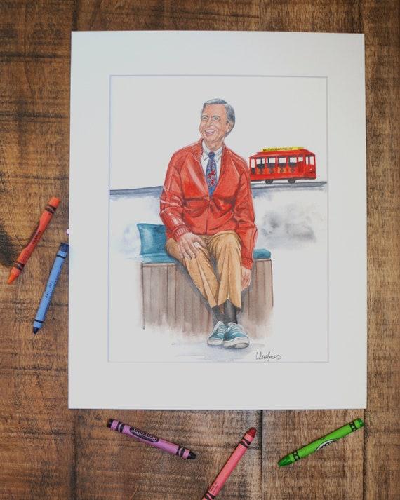 Mr Rogers Watercolor Painting Art Print Etsy