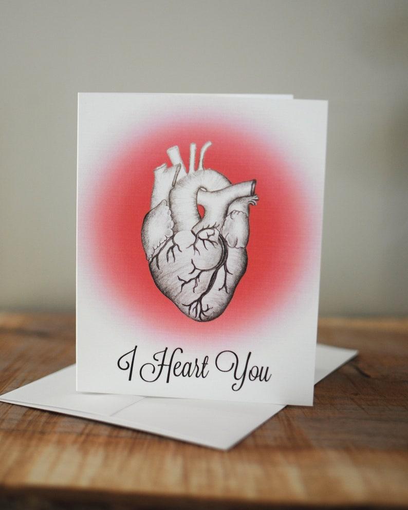 Original Hand-drawn Design Love Card I Heart You Anniversary Card