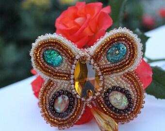 Beaded butterfly brooch, jewelry, whimsical pin, brooch, gold bee brooch, insect brooch, handmade brooch, beadwork