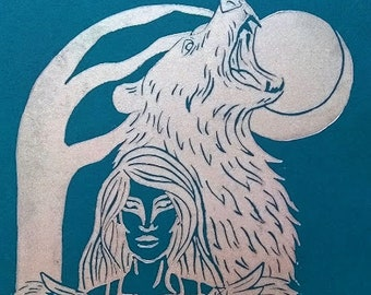 Silver Spirit Animals -Bear A4 linocut print, celtic art, warriors, home decor, mythology, spirituality, pagan art, folklor, wall hanging
