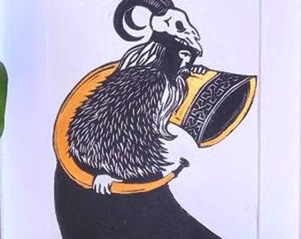 Heimdall -Viking God, A4 handmade linocut print, Norse mythology, vikings, gods, skull art, home decor, pagan art