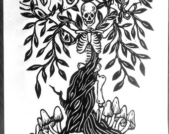 Tree of Knowledge A4 linocut print,dark art, mysticism, skeletons, wall decorations, skull art, spiritual