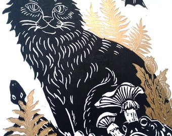 Witch's Companions, A4 handmade linocut print, gold ferns, nature prints, home decor, wall hanging,