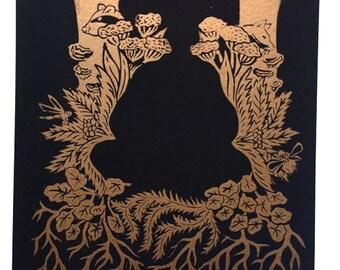 Headlessness A4 handmade linocut print, meditation, zen art, mindfulness, wall art, spirituality,