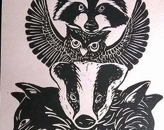 Woodland animals A4 linocut print, cute animals, totem animals, fox print, badger, wild life gifts, nursery wall art,kids room,