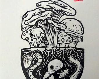 Death is not the end part 1, A4 linocut print, Halloween art ,nature botanical art, home decor, morbid art, mushrooms, wall art, occult art