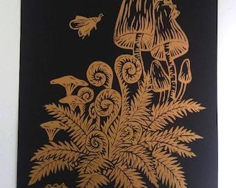 Golden Mushrooms &Ferns, A4 linocut print, handmade poster, home decor, woodlands, forest, botanical art, home decor, fungi,  mycophilia