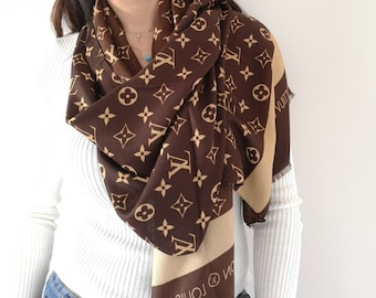 Womens Louis Vuitton Scarf Inspired, Authentic Louis Vuitton Logo Inspired,  Brown Scarf, Unisex Scarf, Christmas Gift for Her, Fast Shipping cf538072778