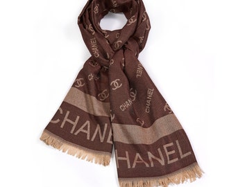 Brown Chanel Inspired Scarf, Beatiful Soft Wraps, Women s Scarves, Chanel  Inspired Shawl for Woman, Gift İdeas, Handmade, HIGH QUALITY 59c8dcc6706