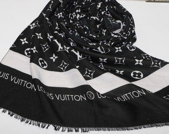 Men s Louis Vuitton Inspired Scarf, Black Louis Vuitton Inspired Scarf,  Handmade Louis Vuitton Paris Inspired Wrap, Christmas Gifts 9c27b558f0e