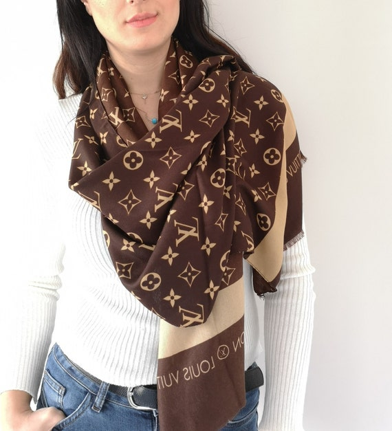 Womens Louis Vuitton Scarf Inspired, Authentic Louis Vuitton Logo Inspired,  Brown Scarf, Unisex Scarf, Christmas Gift for Her, Fast Shipping c05a6df1a29