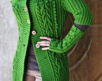 """Cable knit sweater, Hand-knit cardigan """"Elven Attire"""""""