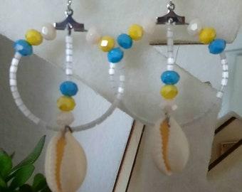 Bohemian sea shell dangle earrings