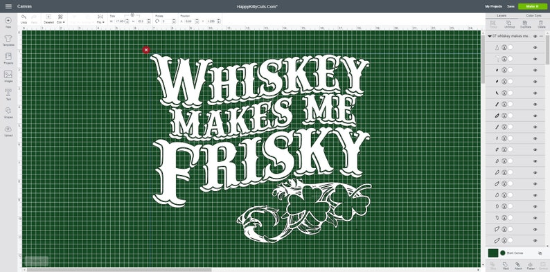 Whiskey makes me frisky - SVG File that works with Cricut Design Space  (Digital Item - Immediate Download)