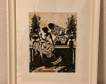 Victorian Man and Women Silhouette / Hand Cut Paper Art / Vintage Silhouette Replica