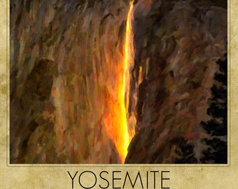 Yosemite Print, Horsetail Falls Print, Yosemite National Park California Decor Yosemite Art Home Decor Wall Art #rf61