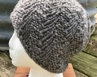 100% American Alpaca hand knit hat. Gray chunky yarn from our alpaca Sassy Pants. Natural Fiber. Very soft and warm. FREE SHIPPING!
