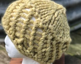 Pill Box Hat, Chunky Alpaca (100%), winter hat, hand knit. FREE SHIPPING.