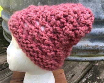 70/30 Alpaca/Wool Rose Pink. Chunky textured hat. Natural Fibers. Very soft and warm. FREE SHIPPING!