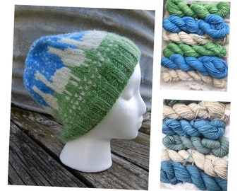 100% Alpaca/Llama Fair Isle Hat kit - Pattern and yarn. Choice of yarn weight and colorways. FREE SHIPPING. Natural fiber