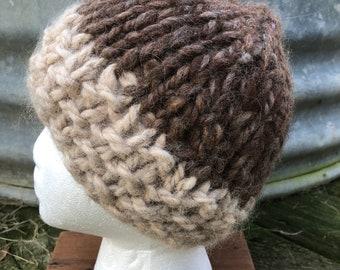 Chunky Handspun Undyed Alpaca hand knit hat. Natural fiber. FREE SHIPPING!