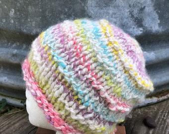 Handspun  Hand dyed Alpaca hand knit hat. Natural fiber. FREE SHIPPING!