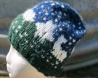 100% Alpaca hand knit hat with alpaca images. Natural fiber. FREE SHIPPING!