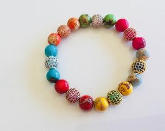 Multi colour jasper beads & cz encrusted balls bracelets