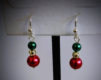 Dangle Earrings, Silver-tone, Red/Green/Silver Beads