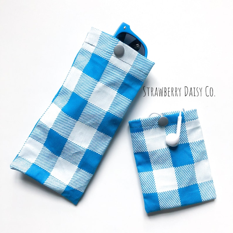Sunglasses and earbud pouch set hand screen printed white plaid on aqua twill