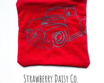 Truck upcycled tshirt pouch red screen printed supply bag