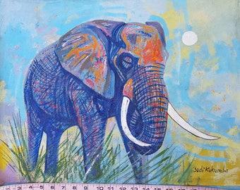 Ugandan Art - Elephant in Blue